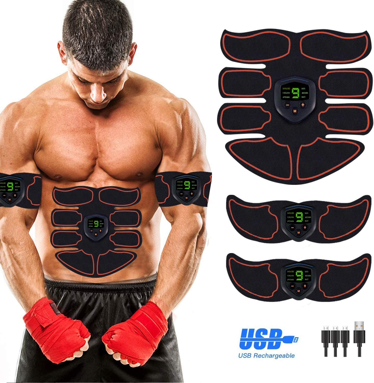 Abs Stimulator Abdominal Muscle, EMS ABS Trainer Body Toning Fitness, USB Rechargeable Toning Belt ABS Fit Weight Muscle Toner Workout Machine for Men & Women