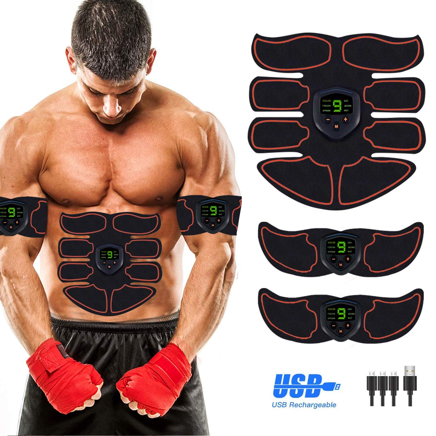 Abs Stimulator Abdominal Muscle, EMS ABS Trainer Body Toning Fitness, USB Rechargeable Toning Belt ABS Fit Weight Muscle Toner Workout Machine for Men Women