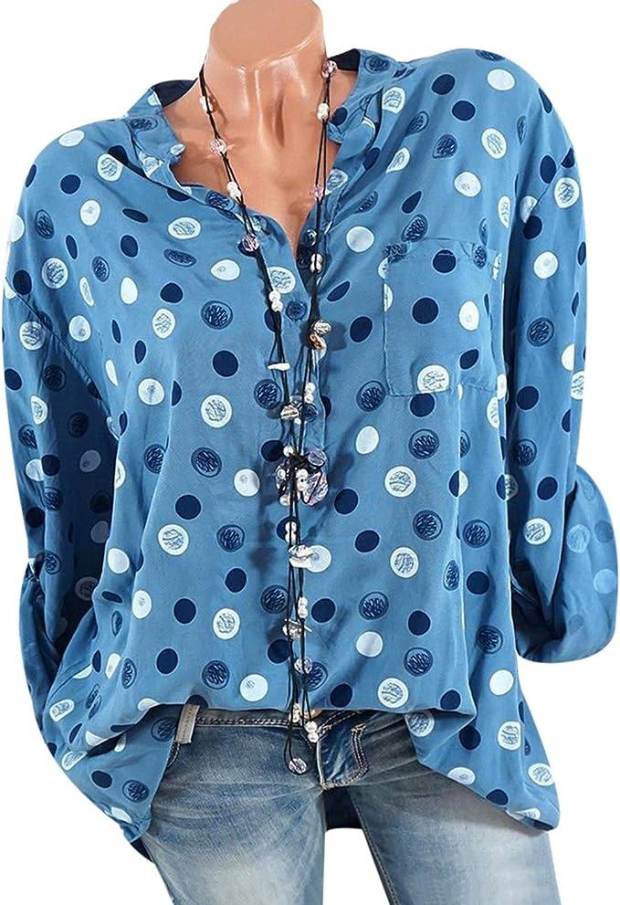 T T Store Blusa de Mujer con Estampado de Lunares, Cuello en V ...