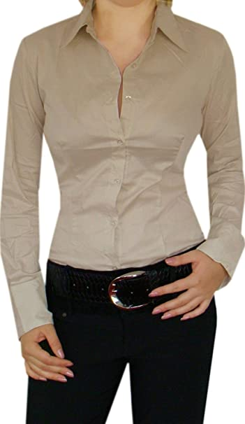 DIVA-MODE Estilo de algodón Blusa Body Completo, Business de Blusa, Negro/. Pasa ...