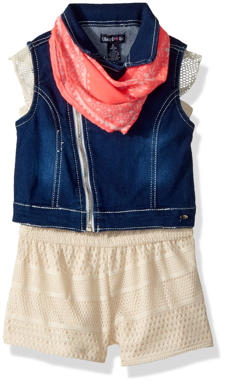 Limited Too Toddler Girls' Romper, Denim Motorcycle Vest with Bandana Vanilla, 4T