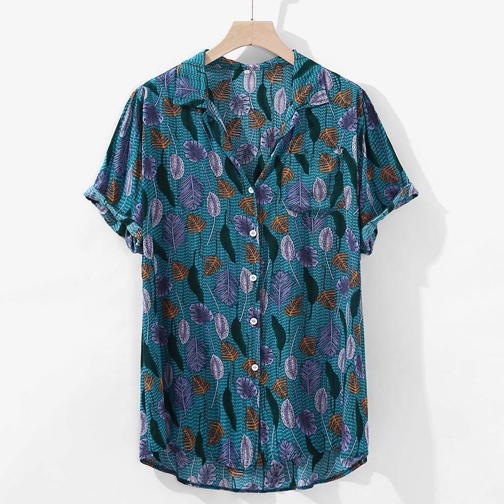 Leyerer Mens Cotton Hippie Shirts Vintage Feather Printed Short Sleeve Casual Hawaiian Shirt Beach Summer Tops