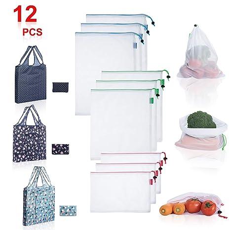 Amazon.com: MILEPECOME - Bolsas reutilizables de malla de ...