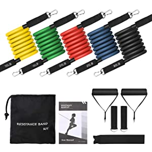 OMORC Exercise Resistance Bands Set (11pcs), Exercise Bands with Door Anchor, Ankle Straps, Carry Bag and Workout Guide - for Building Muscle, Yoga, Physical Therapy, Home Workouts