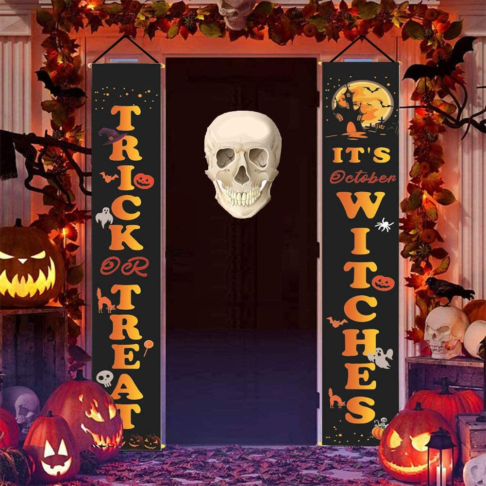Halloween Decorations Outdoor, Trick or Treat & It's October Witches Signs for Front Door Decoration, Indoor Halloween Home Decor, Porch Halloween Welcome Banners, Outside Yard Garden Party Office
