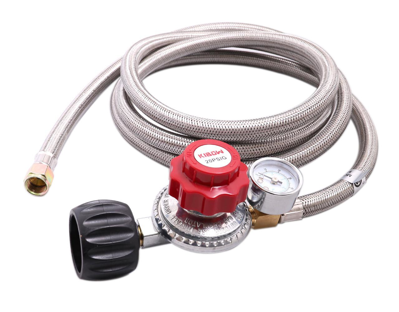 KIBOW 0~20PSI High Pressure Adjustable Propane Regulator w/8FT SS Braided Hose-Type1 (QCC1) and 3/8 Female Flare Swivel Fitting - with Gauge