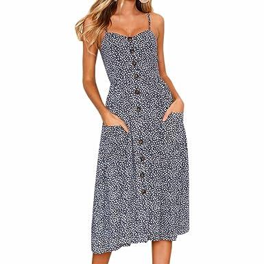 314e2aa8fb PRIMODA Women Summer Floral Print Sundress Bohemian Spaghetti Strap Button  Down Swing Midi Dress with Pockets