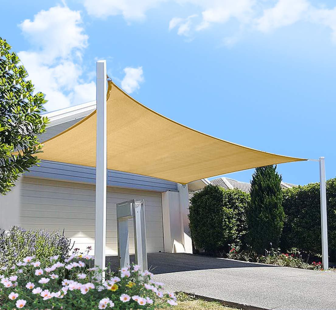 diig Outdoor Sun Shade Sail Canopy, 10' x 14' Rectangle Shade Cloth Patio Cover - UV Resistant Sunshade Fabric Awning Shelter for Deck Yard Garden Carport (Sand Color) by diig