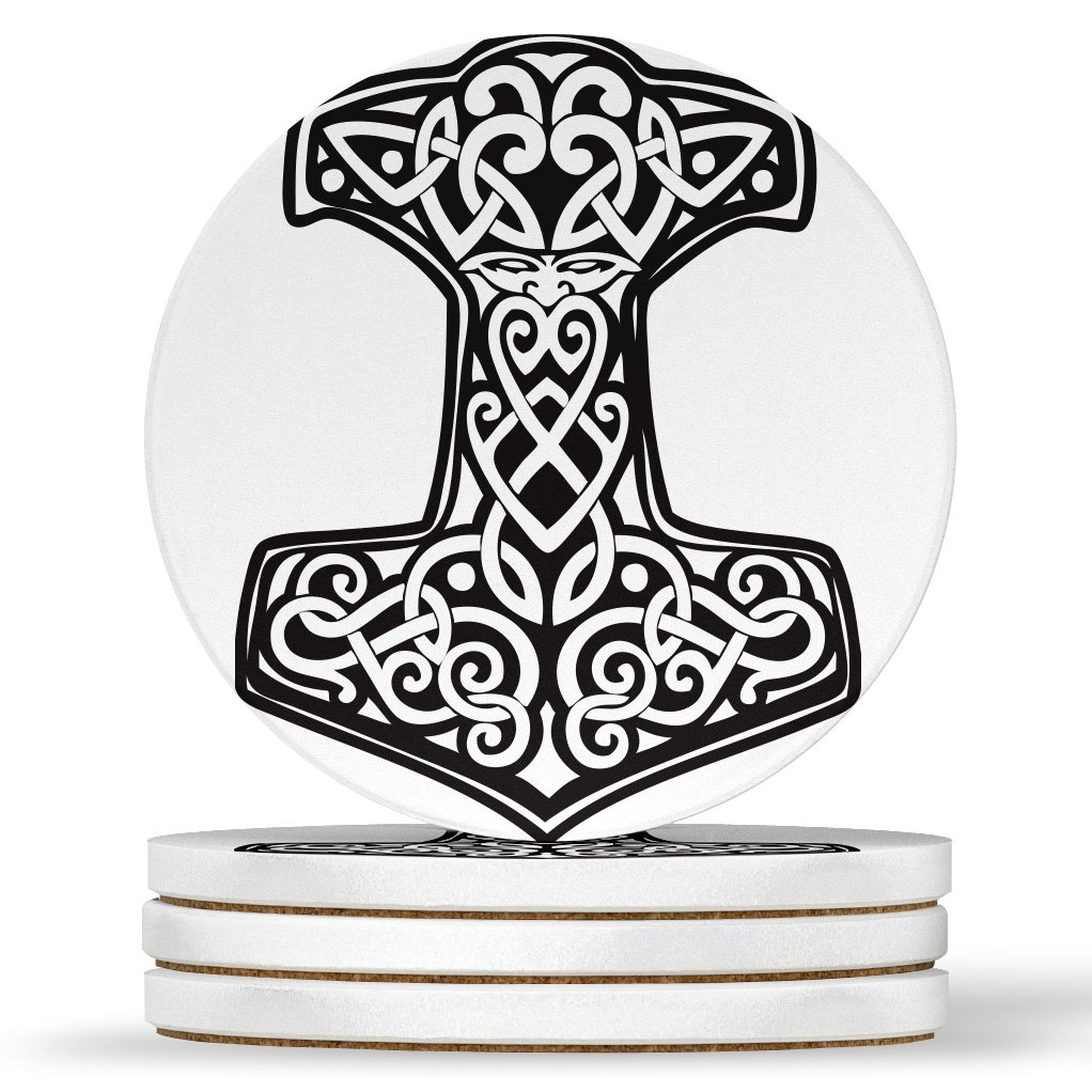 AK Wall Art Thor's Hammer Viking Norse Design - Round Coasters, Natural Sandstone - Set of 4