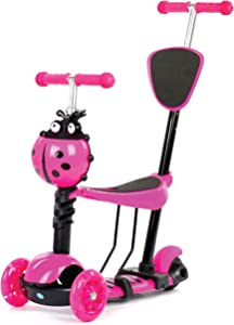 5-in-1 Scooter. Kids toddler adjustable scooters w/flashing wheel. 3 (three) wheeled scooter with seat. My first birthday gift for kid children boys girls toddlers 1/2-6 age years old. Monopatin. Pink