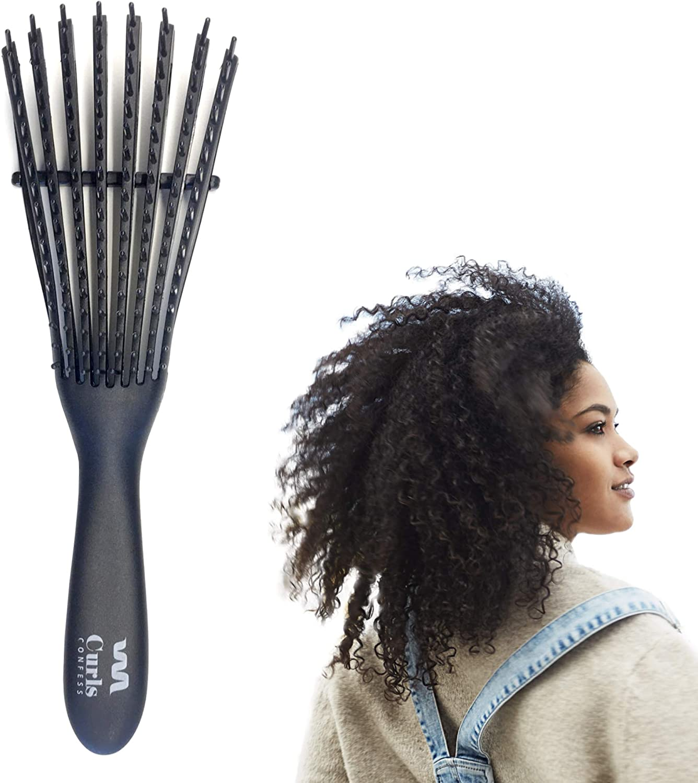 CurlsConfess - Cepillo para desenredar pelo rizado y pelo afro - Peine desenredante antitirones - Desenreda rizos 3a-4c - Ez Curly Detangler para tu cabello rizado - Cepillo D-Tangle - Color jet black