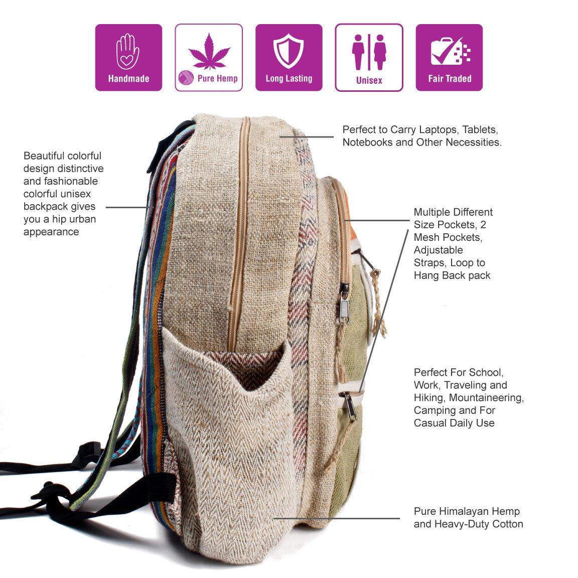 Maha Bodhi All Natural Handmade Multi Pocket Laptop Backpack - Himalayan Hemp by Maha Bodhi (Image #2)