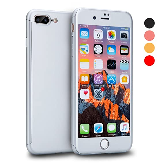 finest selection 0dee4 4bd85 iPhone 8 Plus Case, VANSIN 360 Full Body Protection Hard Slim Case Coated  Non Slip Matte Surface with Tempered Glass Screen Protector for Apple  iPhone ...