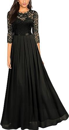MIUSOL Women's Lace Chiffon 34 Sleeve Long Evening Dress