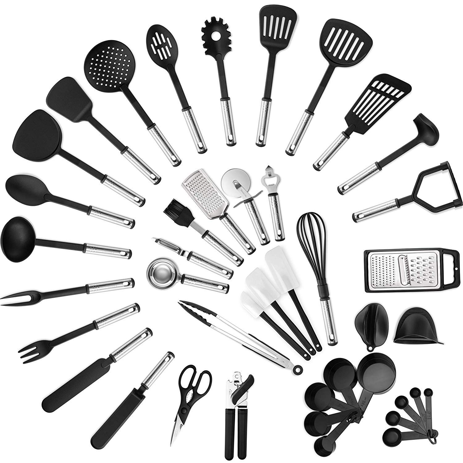 MAXXV Kitchen Utensil Set -42-Pieces Cooking Utensils - Nylon and Stainless Steel Utensil set - Nonstick Kitchen Utensils Spatula Set - Complete Cooking Tool set - Best Kitchen Gadgets for Gift by MAXXV