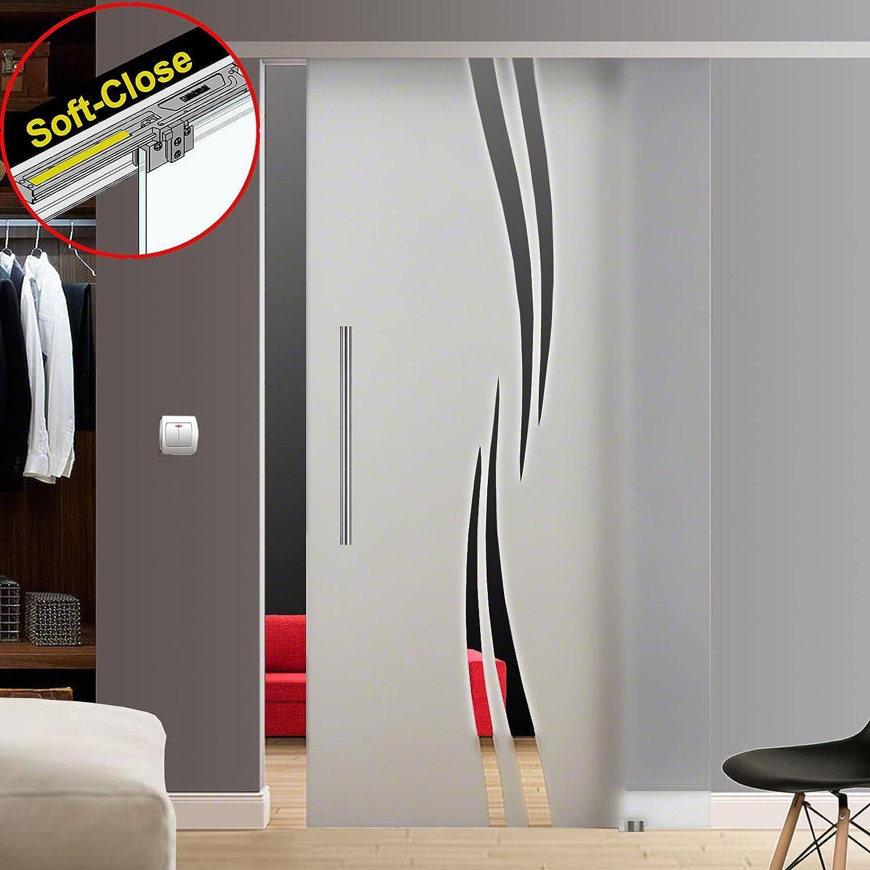 ESG - Sistema de puerta corredera (satinado, con decoración clara ...