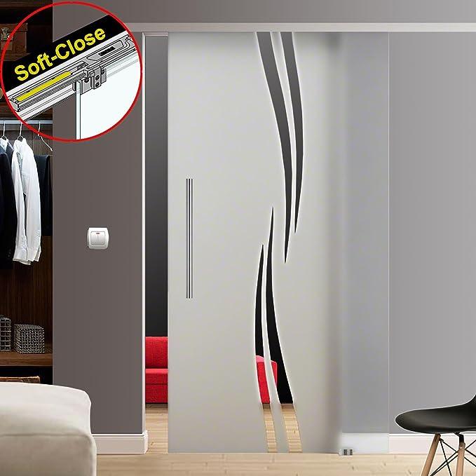 M6-900-600EGE Wandseitig flach 900x2050, Soft-Stop Slimline Alu-Schinensystem mit Griffstange zylindrisch 600mm Einseitig wandseitig flach