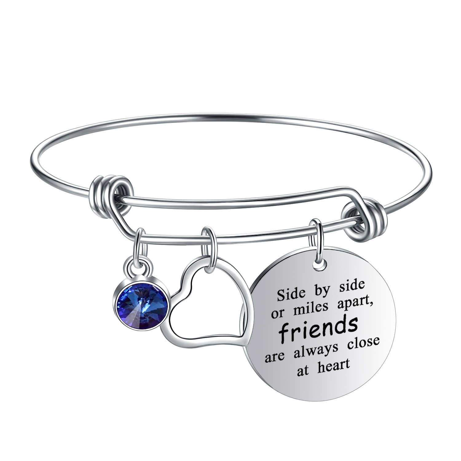 Yoomarket ''Side by side or miles apart Birthstone Adjustable Charm Bangle Bracelet Stainless Steel Women Jewelry Birthday Girls Gifts (09-Sept.-Sapphire)