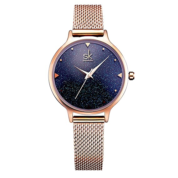 Mujer Relojes Slim Reloj mujer RELOJ 30 m Agua Densidad simple Diseño Analógico Reloj de pulsera Azul Star Esfera: Amazon.es: Relojes
