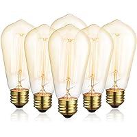 6-Pack DecorStar Edison Bulb 60W E26 Dimmable Light Bulbs