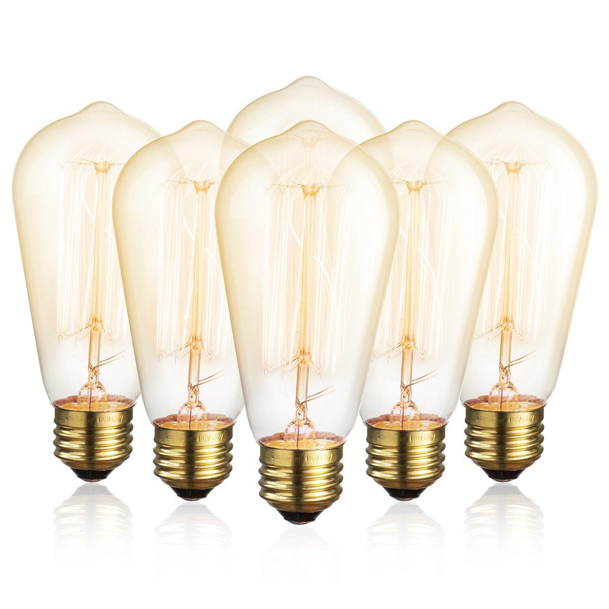 Edison Bulb DecorStar Antique Vintage Light Bulbs Dimmable 110V 60W, E26, 2200K Warm White, 230 Lumens Amber, 6 Pack