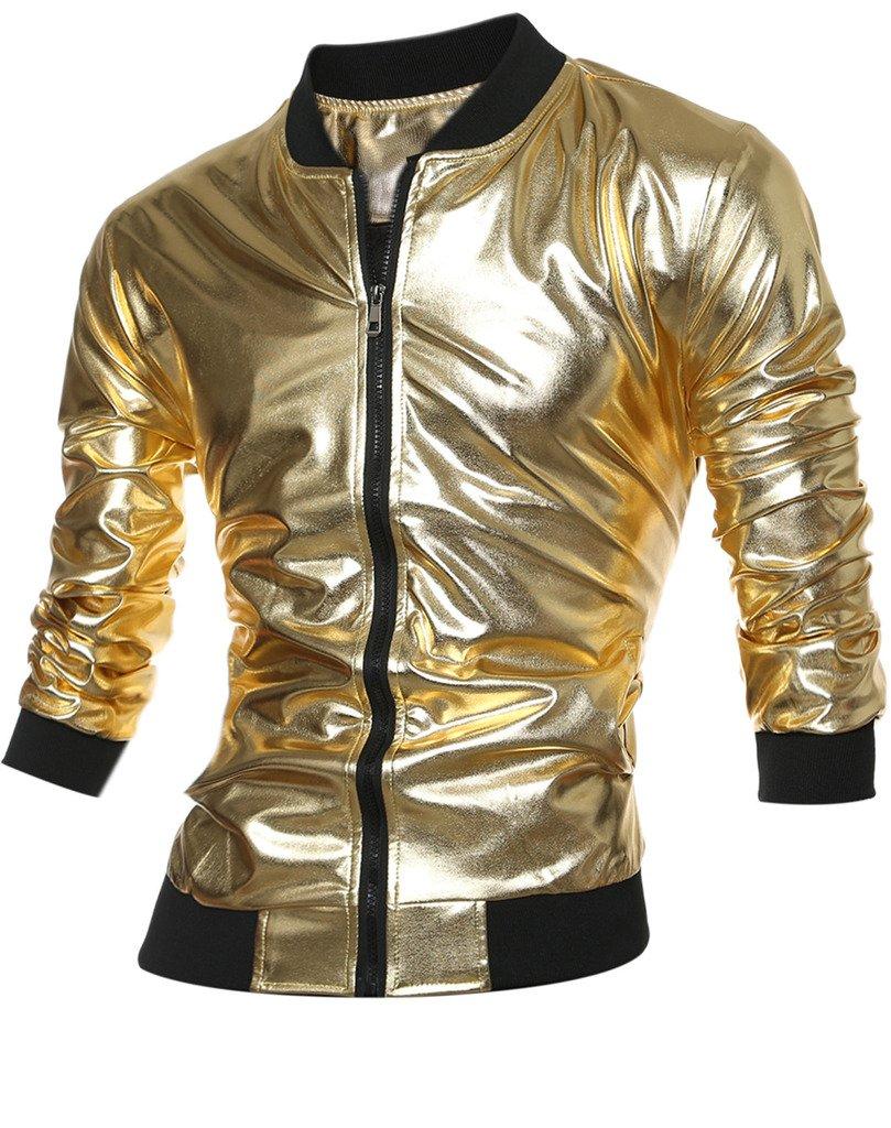 CIC Collection Men's Shiny Slim Fit Zip-up Varsity Baseball Bomber Jacket,Gold,US S / Tag size L