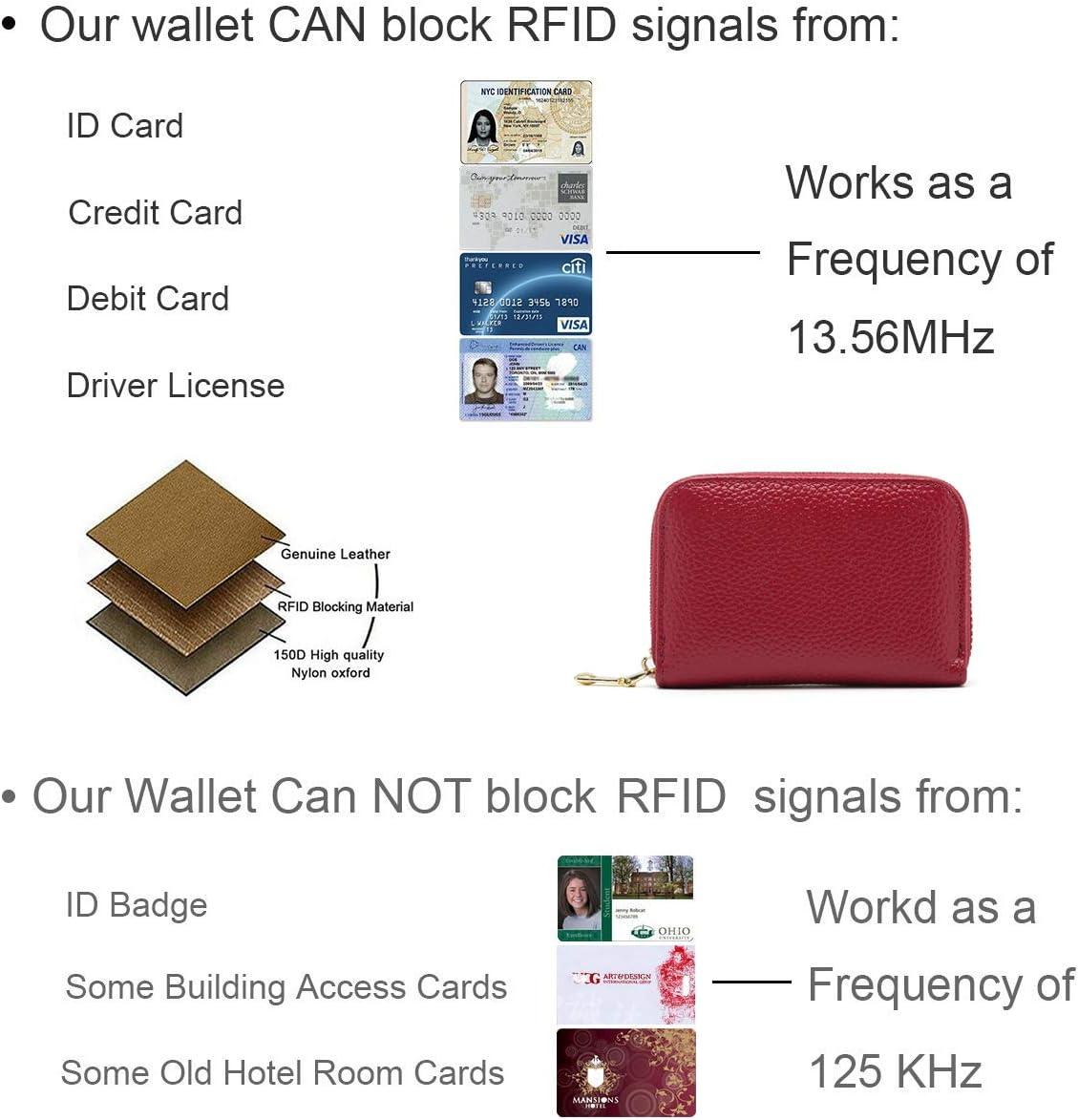 Billetera de Cuero con Bloqueo de RFID Fundas para Tarjetas de Cr/édito Azul Zafiro Billetera con Cremallera Alrededor de 13 Monedero de Cuero para Mujeres y Hombres.