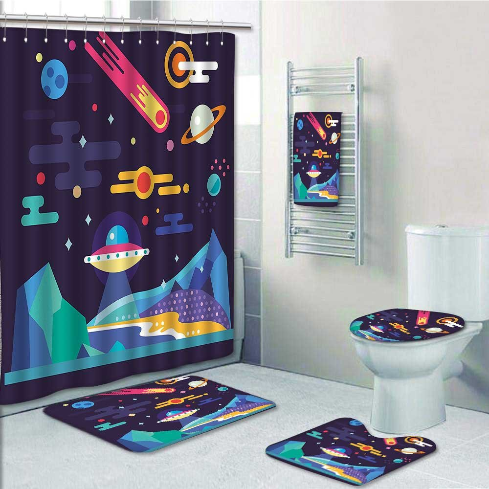 Printsonne 5-piece Bathroom Set-Includes Shower Curtain Liner,Cosmos Universe Themed Solar System Stardust Comet Ufo PlanetaryDecorate the bathroom(Medium size)