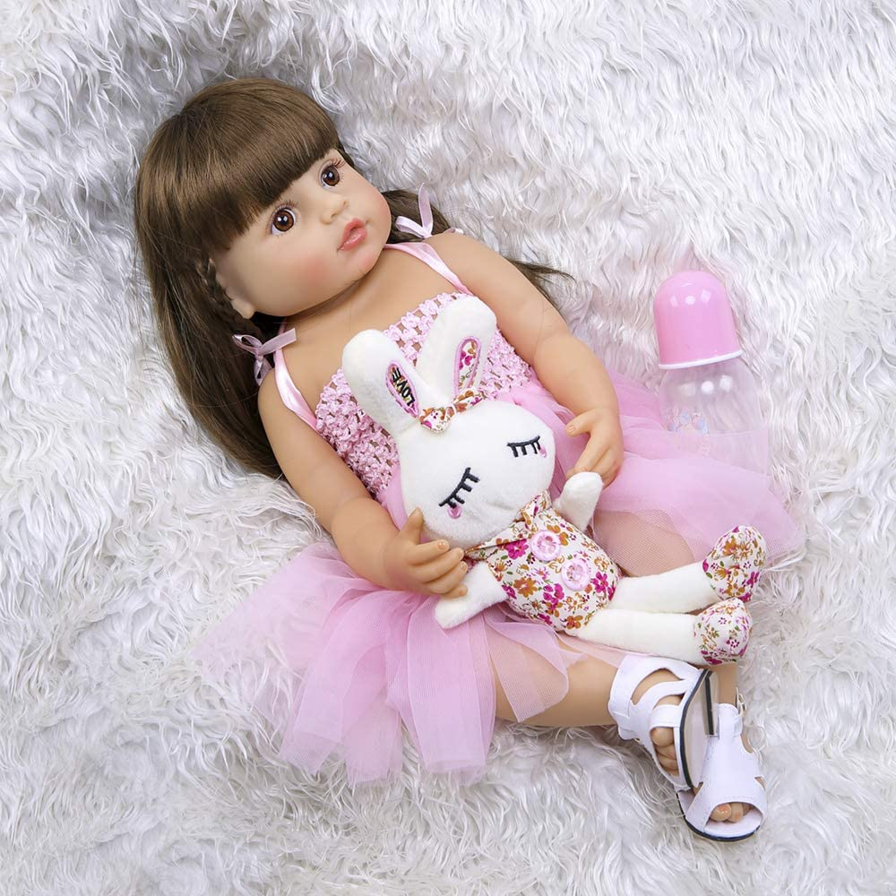 Reborn Baby Dolls Silicone Vinyl Full Body Girls 22 inches 55cm Toddlers Newborn Princesses Waterproof with Pink Dress Eyes Open for Birthday Gifts