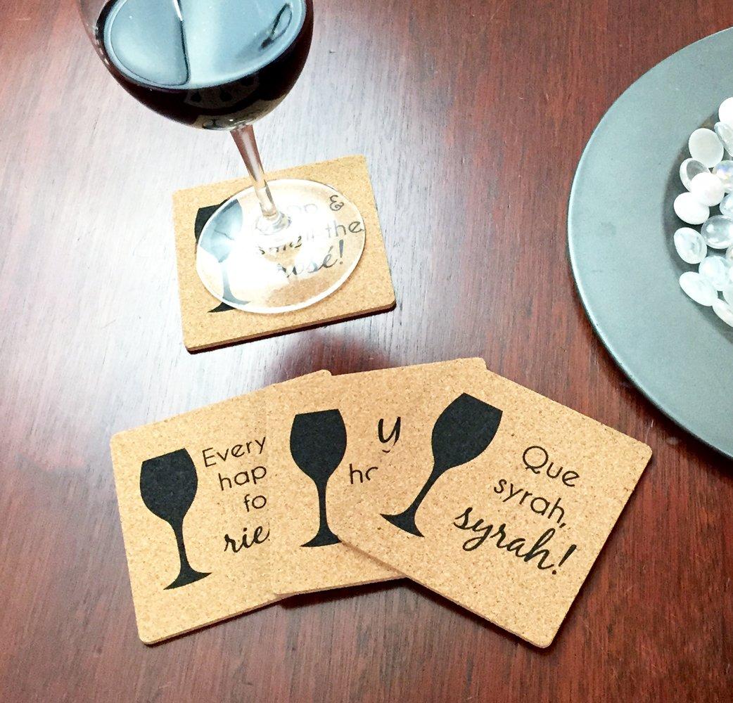 Wine Varietal Puns: Merlot Wine Themed Coasters Wine Lover Gift Cork Coaster Set Syrah Riesling Rose Yay Delicious COMINHKPR89030