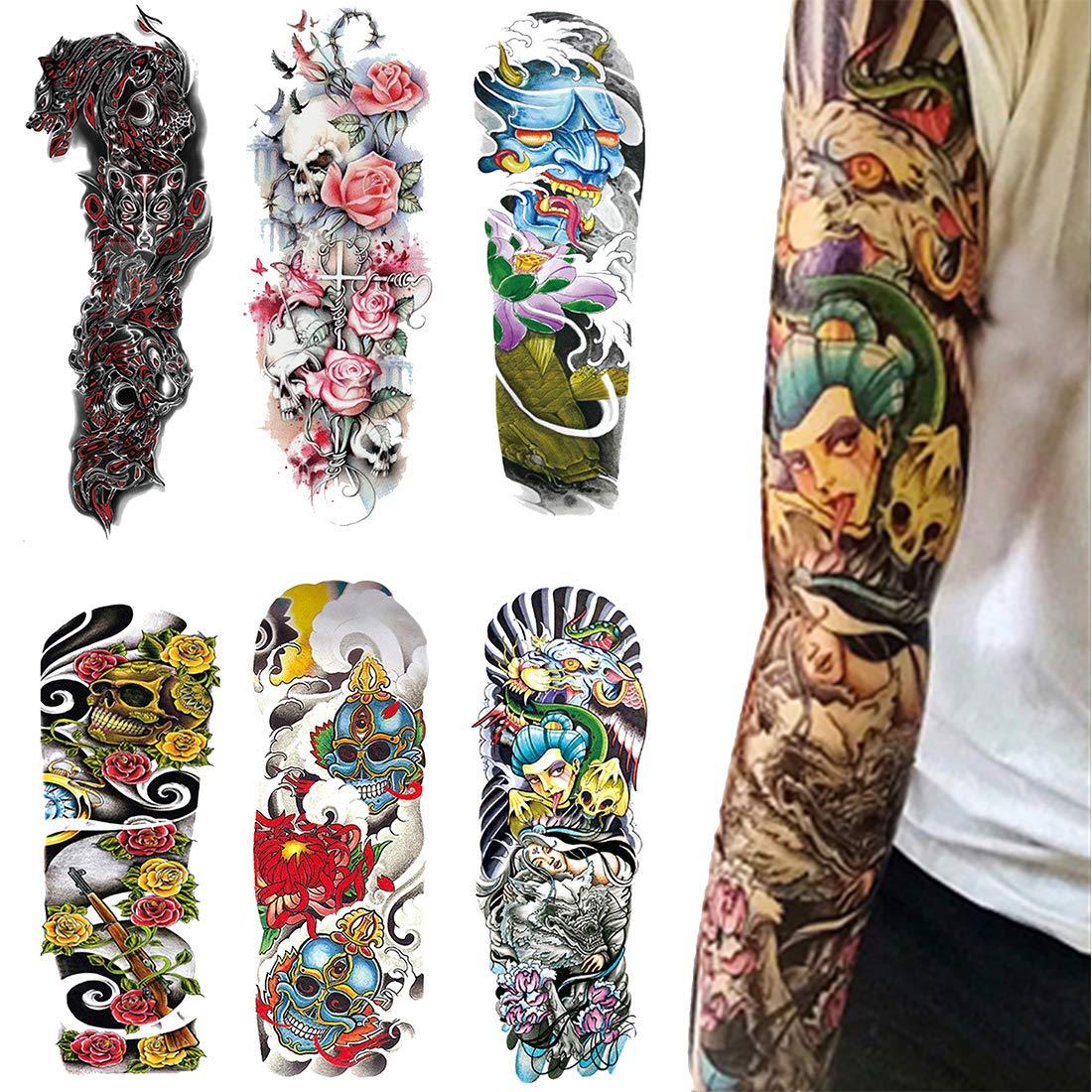 Tatouage Temporaire Pour Homme et Femme, Tattoo Sticker Noir Body Bras Tatouages éphémères, D'autocollants De L'Art Du Corps De Mode (1) Acoser