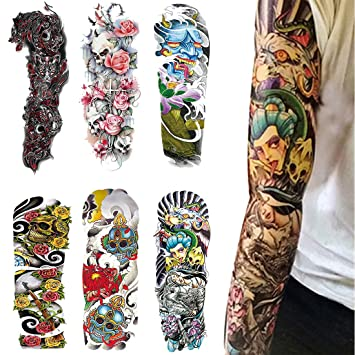 Amazon.com : Full Arm Temporary Tattoos, Extra Large Fake Tattoos ...