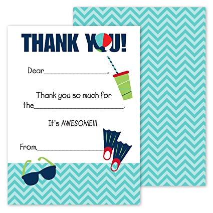 amazon com pool party kids thank you note card pack set of 20