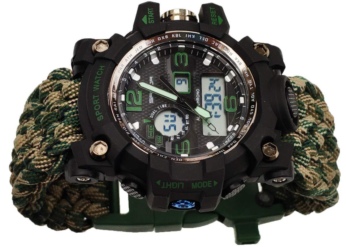 8'' Paracord Bracelet Watch Compass Green Camo 550 Waterproof Date&Day Stopwatch Chronograph Alarm LED Backlight Flint Fire Starter