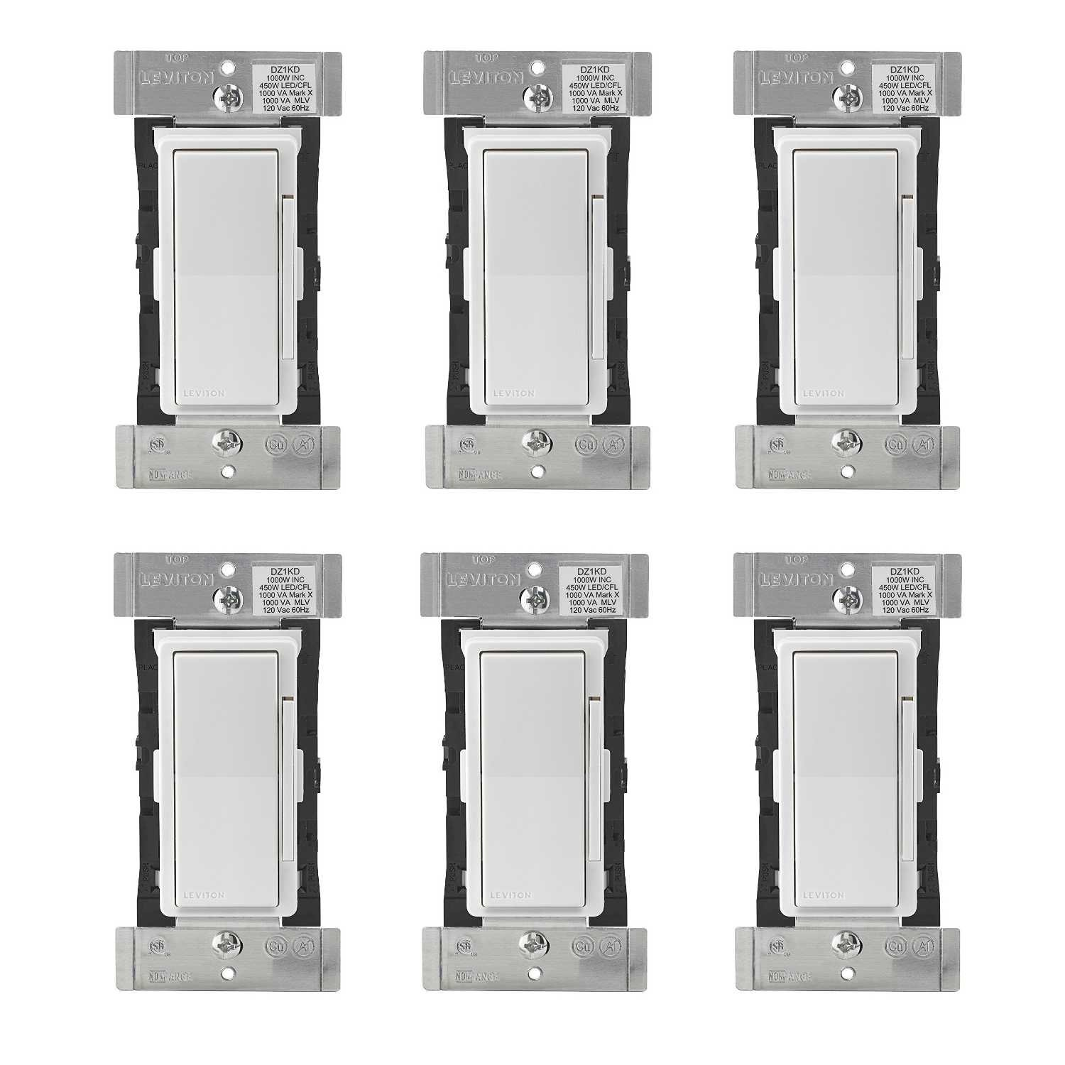 Leviton DZ1KD-1BZ Decora Smart 1000W Dimmer with Z-Wave Plus Technology, Works with Amazon Alexa (6 Pack) by Leviton