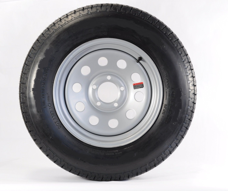 eCustomRim Rainier Mounted Trailer Tire and Rim ST205/75R14D 14X5.5 5-4.5 Silver Modular