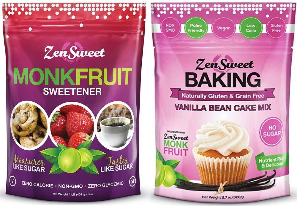 ZenSweet All Natural Monk Fruit & Vanilla Bean Cake Mix Combo - Sugar Free, Gluten Free, Zero Calorie, Zero Glycemic Index, Non GMO, Keto Paleo Vegan & Diabetic Friendly (Bakers Combo)