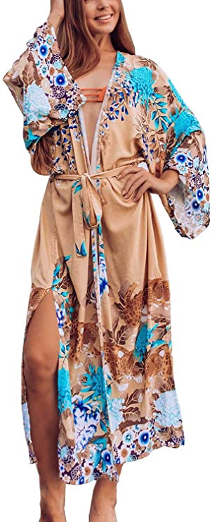 da Donna Frecoccialo Estate Kimono Floreale in Mussola di Seta