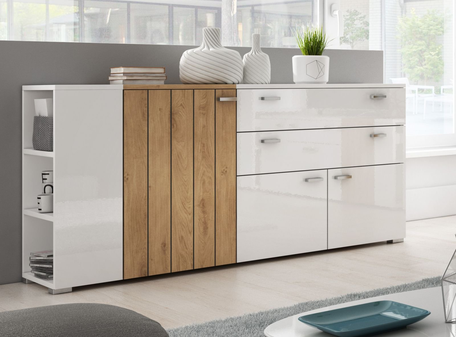GENTLE Collection SIDEBOARD – European design 3-Door Sideboard with 2 Drawers and lateral open shelves – Elegant Glossy finish (White and Beaufort Oak)
