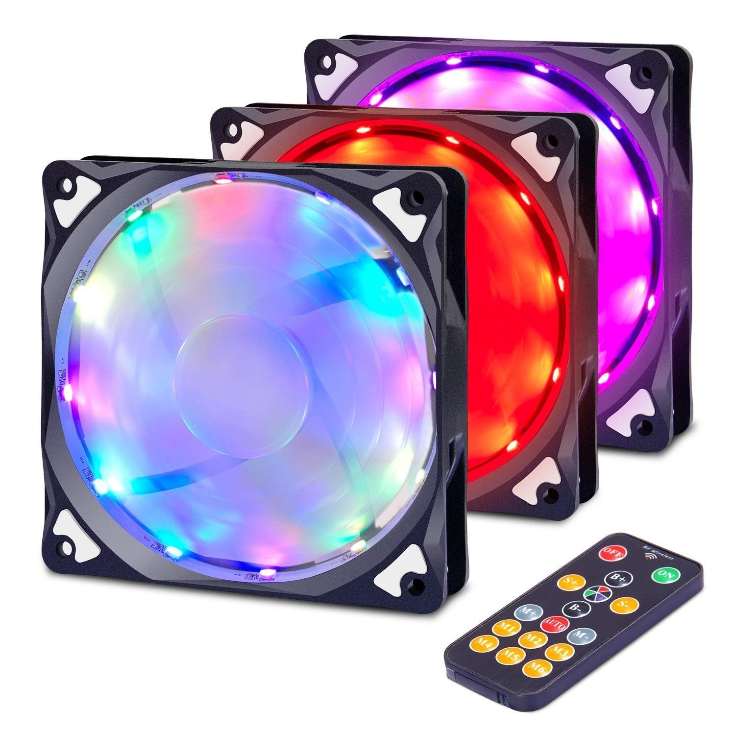 Computer Case Fan with Remote Control, OxyLED RGB PC LED Case Fans Light CPU Cooling Fans, 120mm Radiators Cooler with 7 Single Color Modes and 7 Color-Changing Modes, 3-Pack