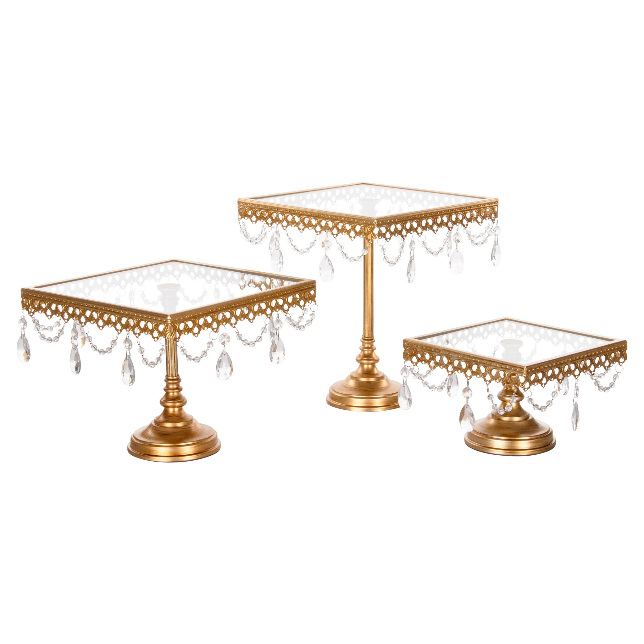 Amalfi Decor Square Cake Stand Set of 3 Pack, Dessert Cupcake Pastry Candy Display Plate for Wedding Event Birthday Party, Glass Top Metal Pedestal Holder with Crystals, Gold by Amalfi Décor