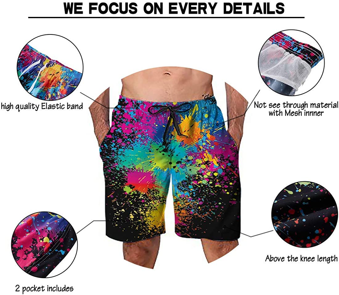 guo yu cheng Belovecol Mens Swim Trunks Summer Cool Quick Dry Board Shorts Bathing Suit with Side Pockets Mesh Lining S-XXL
