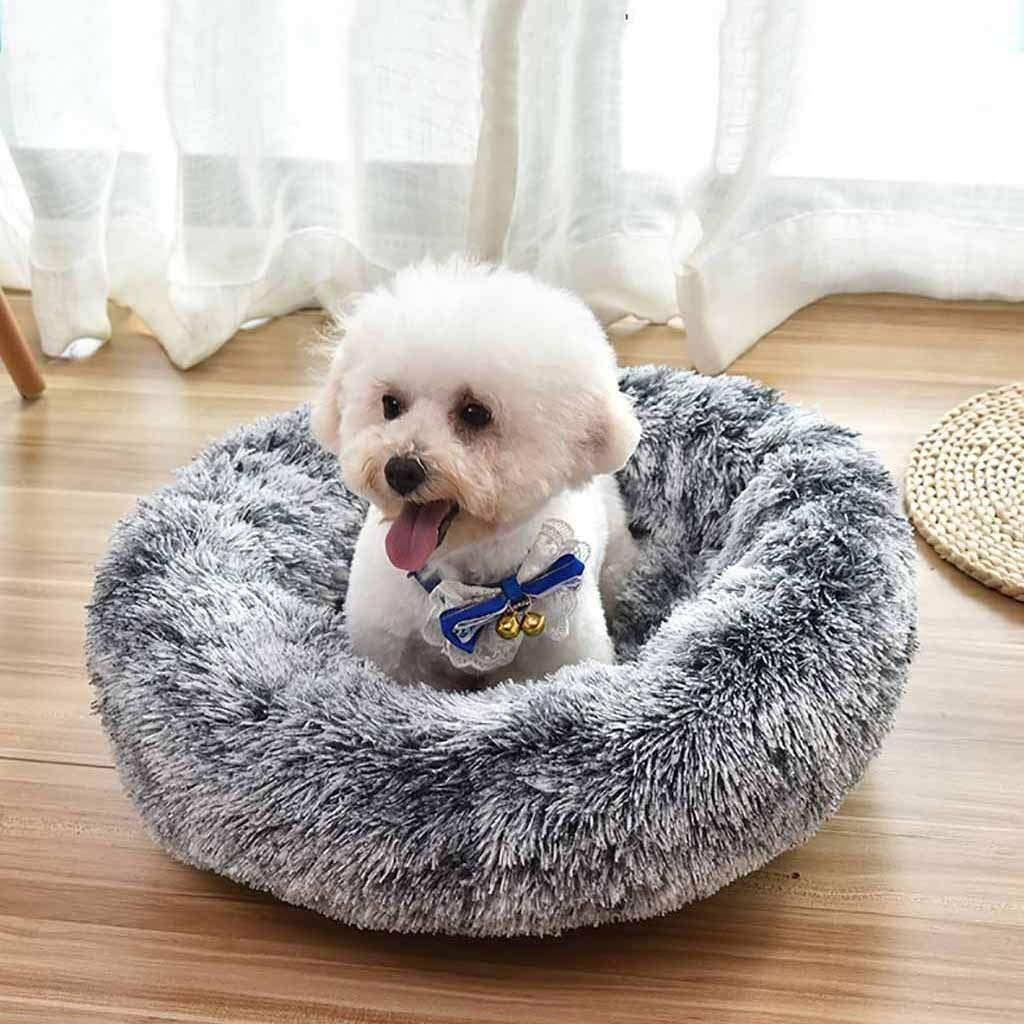 M, Black Mosunx Cat and Dog Bed Luxury Shag Fuax Fur Donut Cuddler Round Donut Dog Beds Indoor Pillow Cuddler for Medium Small Dogs Pet Calming Bed