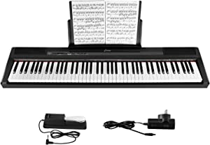 Donner DEP-10 Beginner Digital Piano 88 Key Full Size Semi Weighted Keyboard, Portable Electric Piano with Sustain Pedal, Power Supply