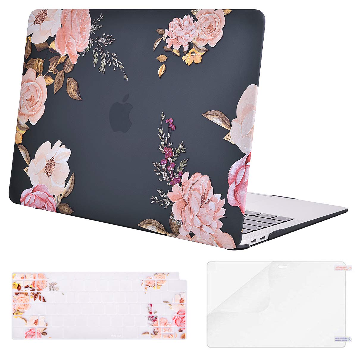 MOSISO MacBook Air 13 Inch Case 2018 Release A1932 with Retina Display, Plastic Pattern Hard Case Shell & Keyboard Cover & Screen Protector Only Compatible Newest MacBook Air 13, Peony Blossom