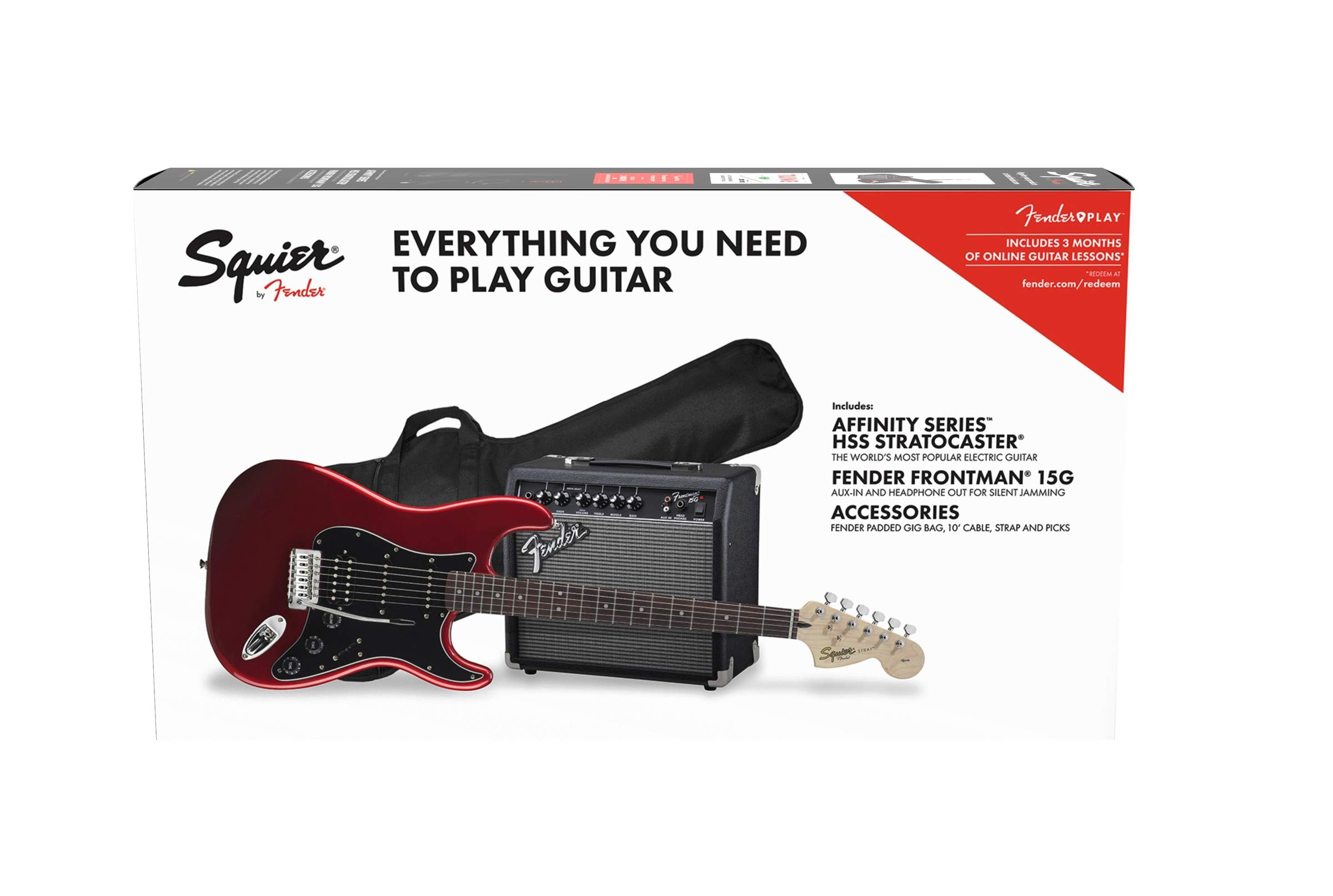 Squier by Fender Affinity Stratocaster Beginner Pack, Laurel Fingerboard, Candy Apple Red, with Gig Bag, Amp, Strap, Cable, Picks, and Fender Play by Fender