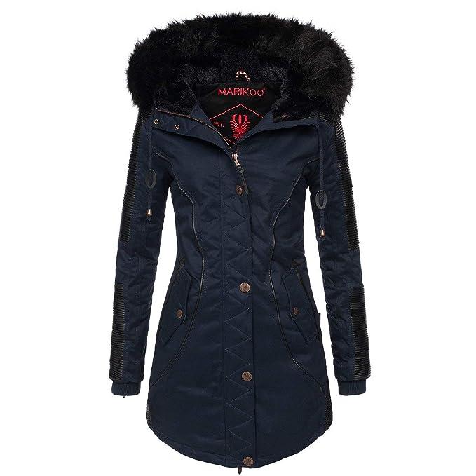 uk availability 389f5 914fb Marikoo Designer Damen Winter Parka warme Winterjacke Mantel Jacke B372