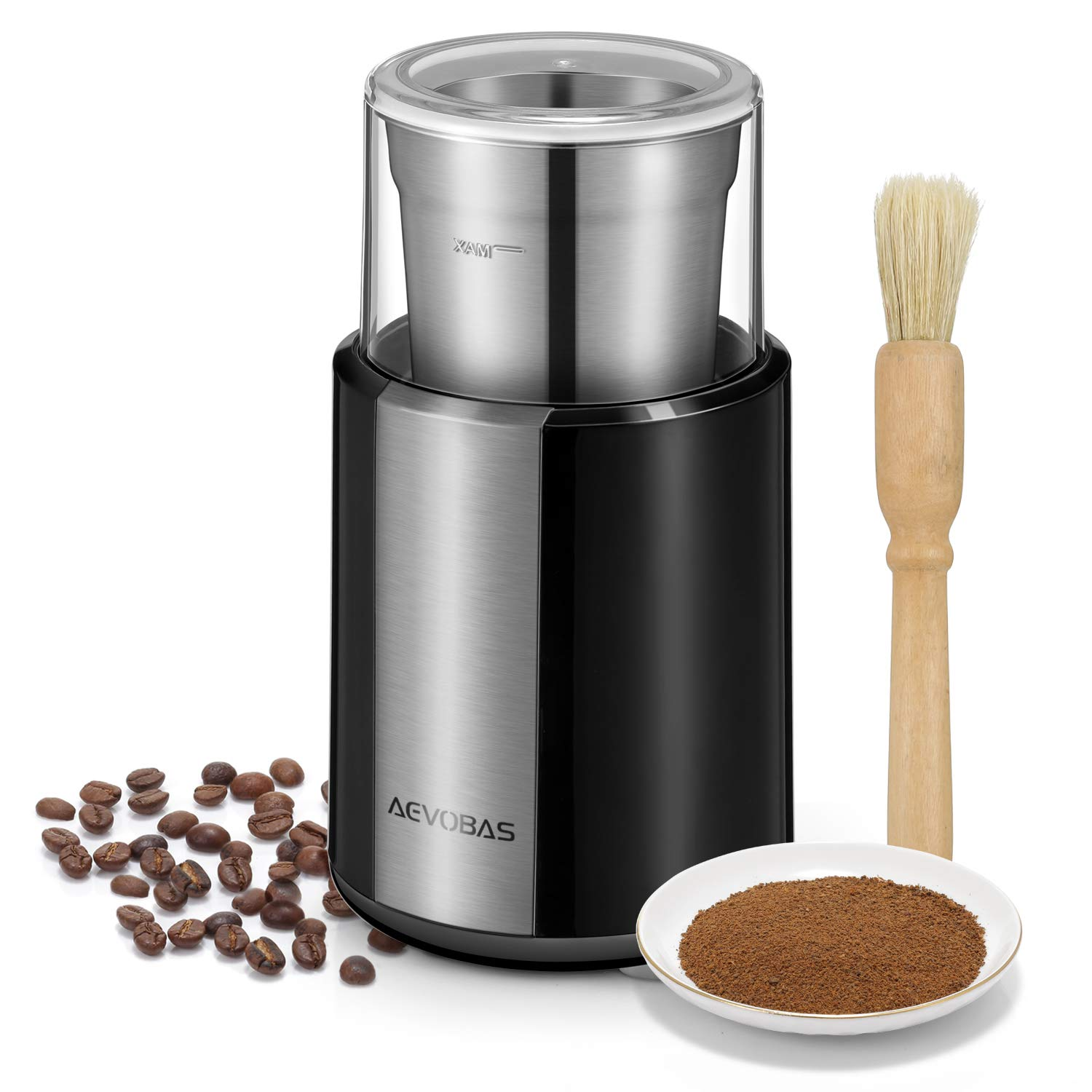 AEVOBAS Electric Coffee Grinder Coffee Bean Spice Nut Grinding Machine Stainless Steel Blade Multifunction Household Mill with A Coffee Grinder Cleaning Brush