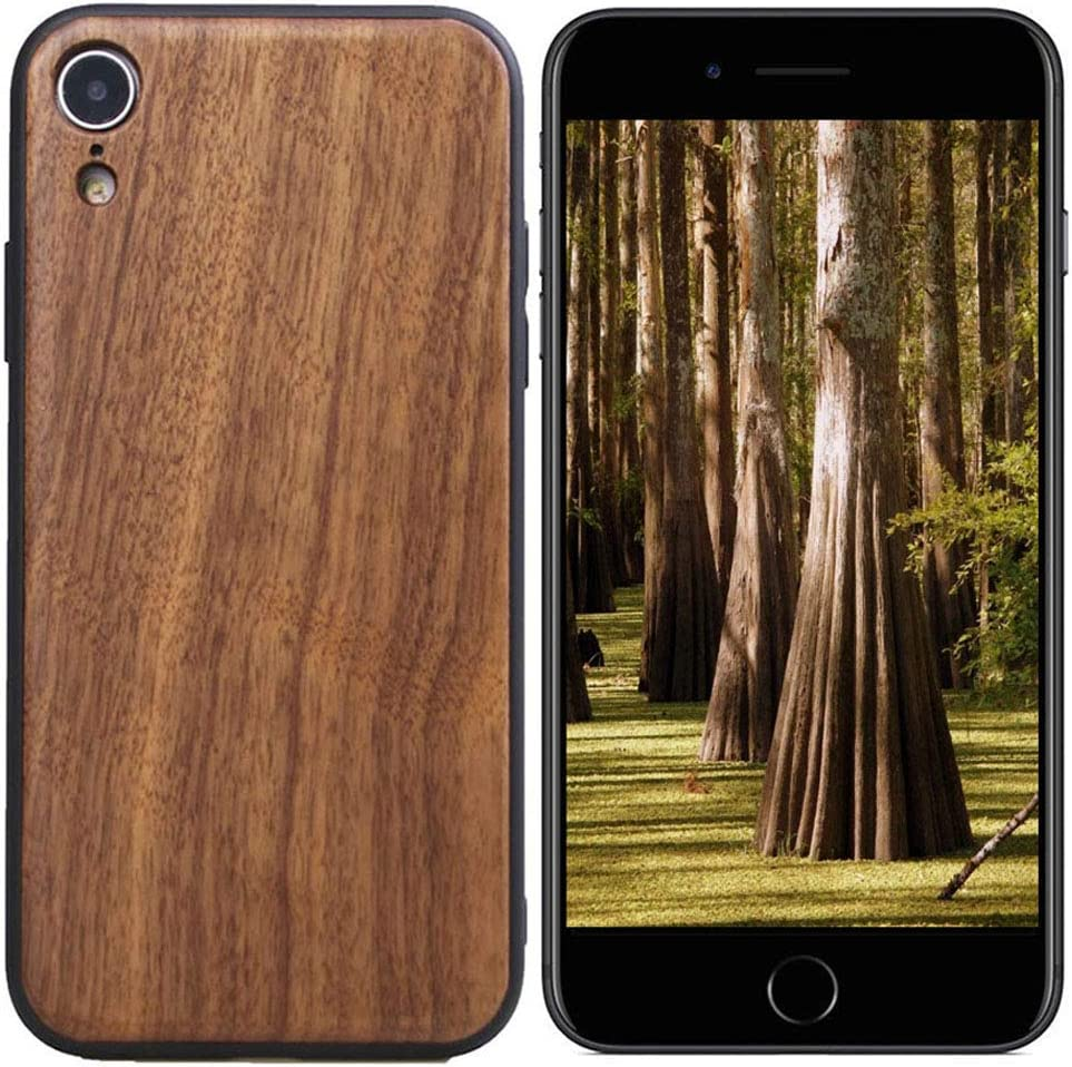 iPhone SE 2020 iPhone 7 Wood Case iPhone 8 Wooden Cases Real Wooden and Soft TPU Double Protection, Anti-Scratch Shock Absorption Thin Slim Cover Case Cool for Apple iPhone SE2020/7/8 by hhY (Walnut)