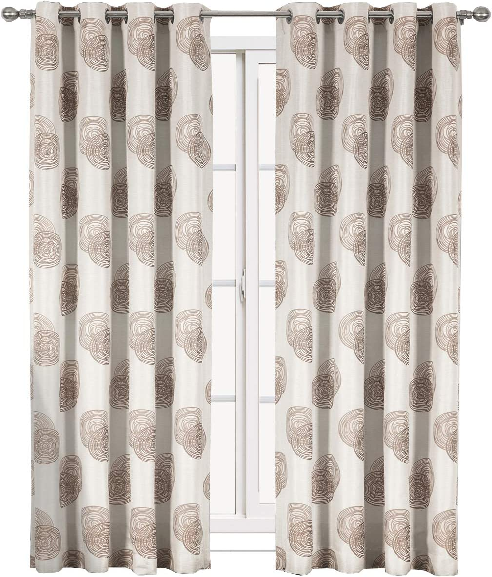 Royal Tradition Lafayette 108-Inch Wide x 120-Inch Long, Set of 2, Jacquard Grommet Window Curtains, Brown